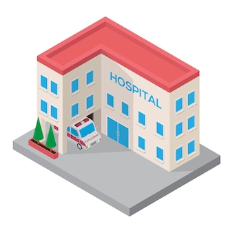 Edifício 3d isométrico de hospital com carro de ambulância isométrico