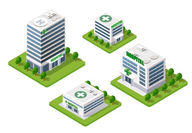 Edifício 3d isométrico de hospital