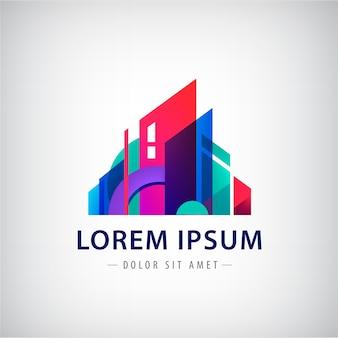 Edifício abstrato logotipo colorido isolado em cinza
