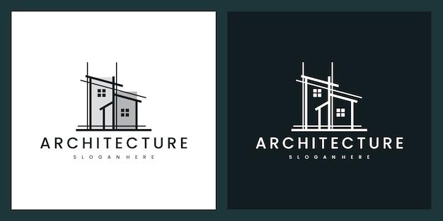 Edifício arquitetônico com estilo de arte de linha, inspiração de design de logotipo