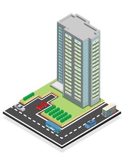 Edifício arranha-céu isométrico.