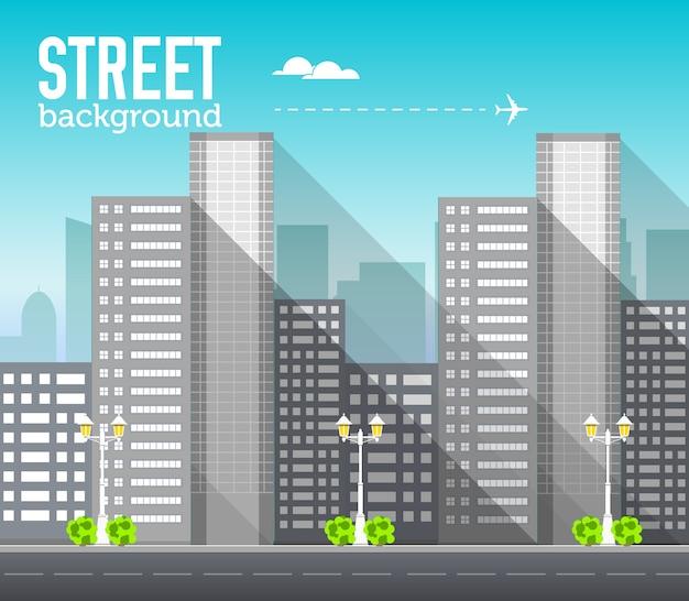 Edifício arranha-céu no espaço da cidade com estrada