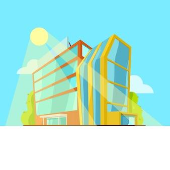 Edifício bonito dos desenhos animados no fundo do céu azul.