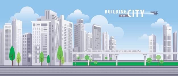 Edifício branco na cidade, perspectiva do arranha-céus. vetor de arquitetura.