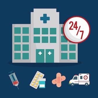 Edifício clínica serviço de saúde 24-7