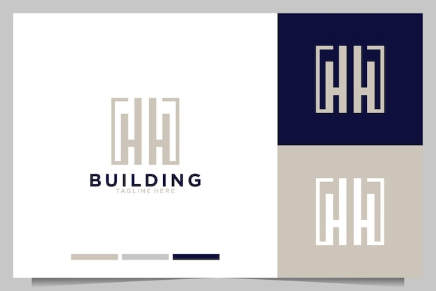Edifício com design de logotipo da letra h