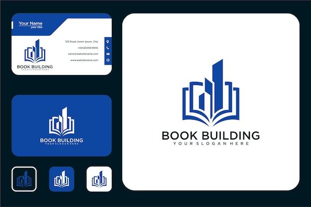 Edifício com design de logotipo de livro e cartão de visita