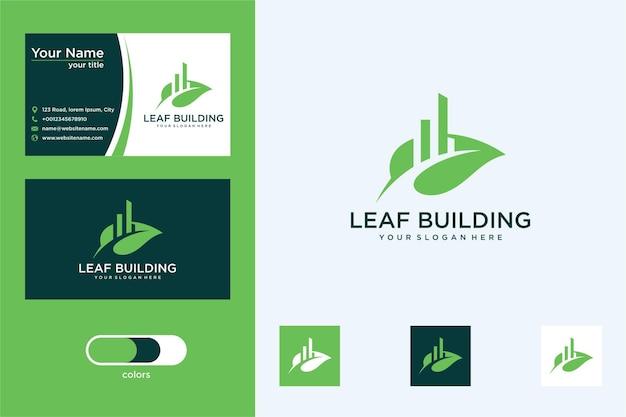 Edifício com logotipo de design de folha e cartão de visita