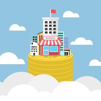 Edifício comercial crescendo em moedas do dólar