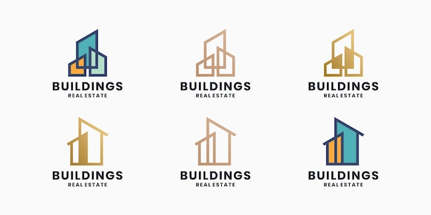 Edifício, conjunto de design de logotipo de imóveis