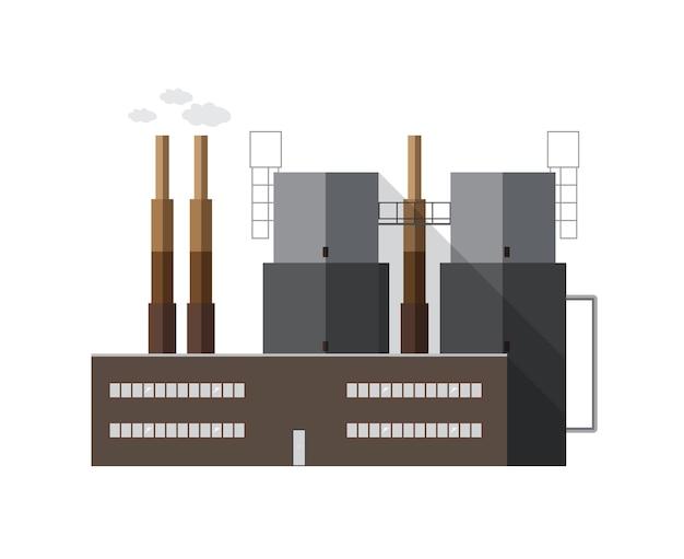 Edifício contemporâneo da fábrica com tubos que emitem fumaça isolada no fundo branco. central geradora de energia elétrica de arquitetura moderna. ilustração em vetor desenhos animados coloridos em estilo simples.