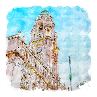 Edifício da câmara municipal do porto, portugal esboço em aquarela ilustração desenhada à mão