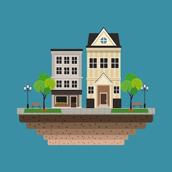 Edifício da casa residencial urbano fundo azul