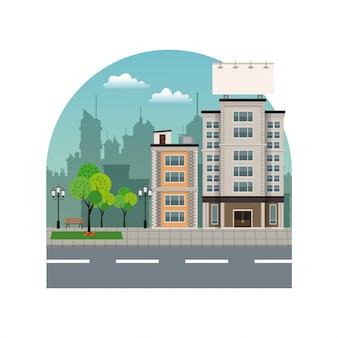 Edifício da cidade com grande silhueta urbana de quadro de avisos urbanos