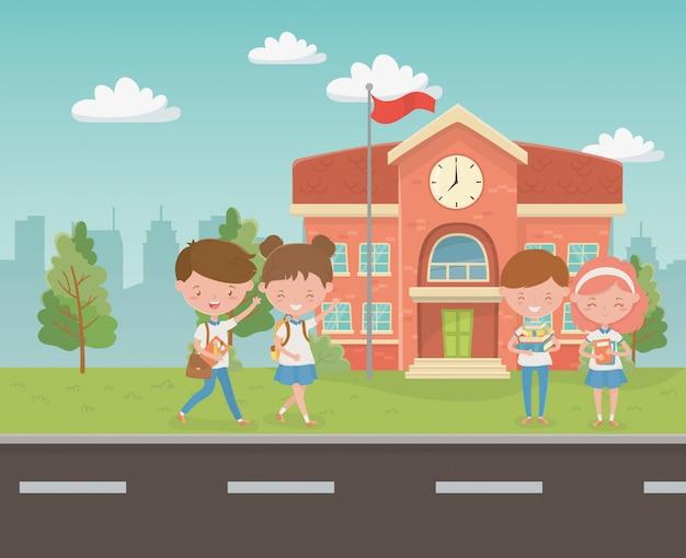 Edifício da escola com as crianças na cena