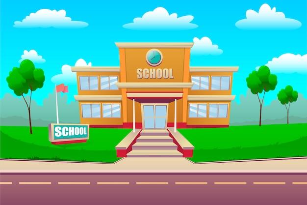 Edifício da escola de desenho animado. de volta à escola