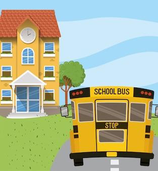 Edifício da escola e ônibus na cena da estrada