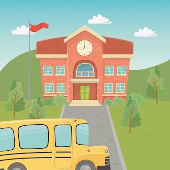 Edifício da escola e ônibus na cena