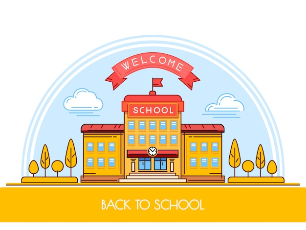 Edifício da escola em estilo simples.