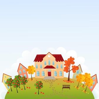 Edifício da escola na colina na temporada de outono outono. fundo de ilustração vetorial