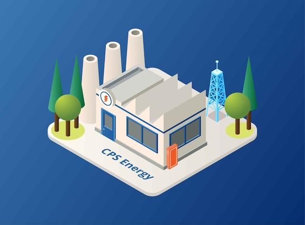 Edifício da estação de energia solar, ilustração isométrica