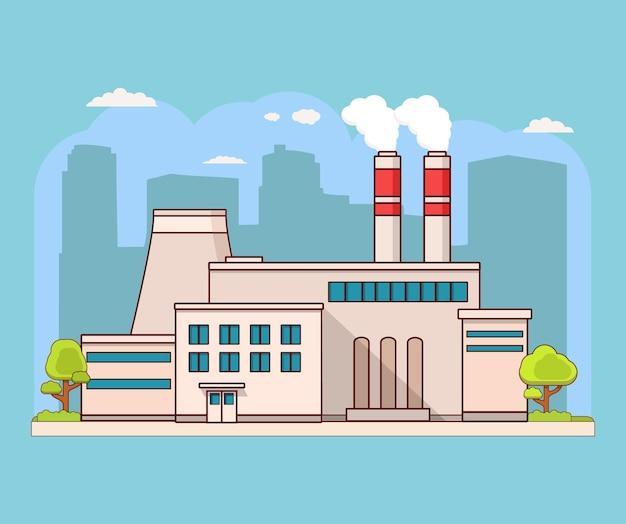 Edifício da fábrica com a silhueta da cidade de chaminés
