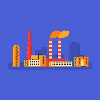 Edifício da fábrica e tubulação da chaminé. conceito de negócios. ilustração vetorial.
