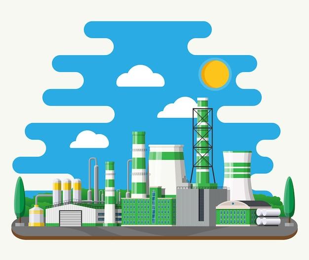 Edifício da fábrica. fábrica industrial, usina. tubos, edifícios, armazém, tanque de armazenamento. planta ecológica verde. árvores, nuvens e sol.