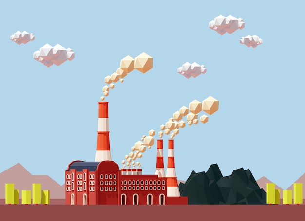 Edifício da fábrica industrial com tubos e carvão.