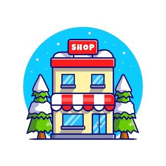 Edifício da loja no inverno dos desenhos animados ilustração do ícone do vetor. edifício conceito de ícone de negócio isolado vetor premium. estilo flat cartoon