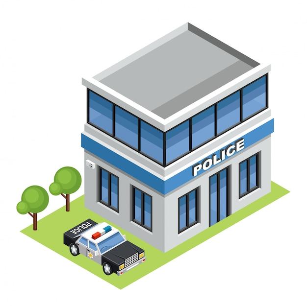 Edifício da polícia isométrica