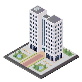 Edifício da torre isométrica