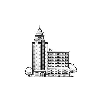 Edifício da universidade com ícone de doodle de contorno desenhado de mão de árvores. conceito de campus e prédio do governo