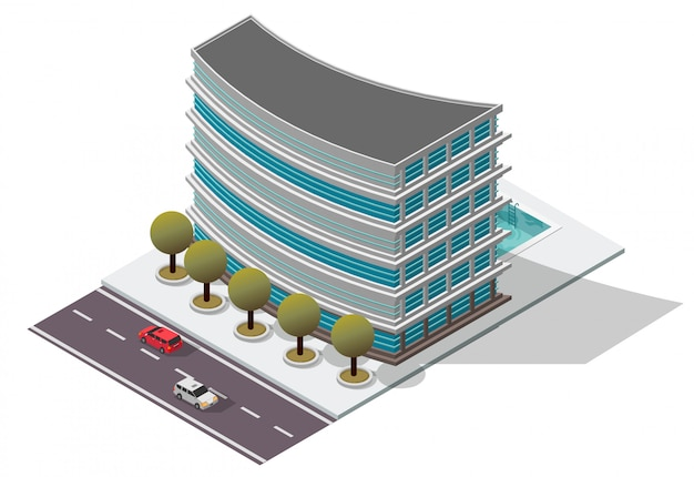 Edifício de apartamento isométrico do hotel