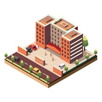 Edifício de apartamento isométrico em branco