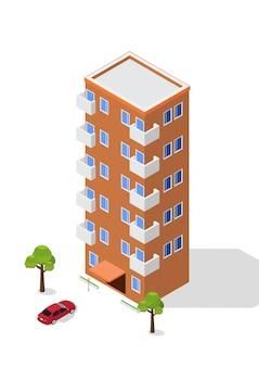 Edifício de apartamento isométrico