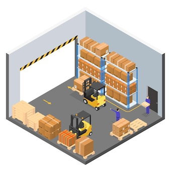 Edifício de armazém interior com trabalhadores em entrega comercial uniforme ou logística.