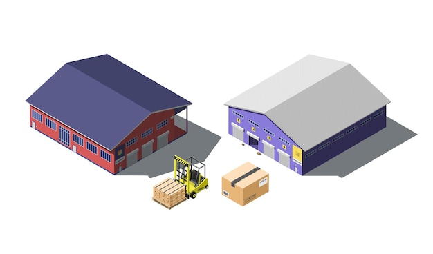 Edifício de armazém isométrico definido com empilhadeira e caixas de papelão