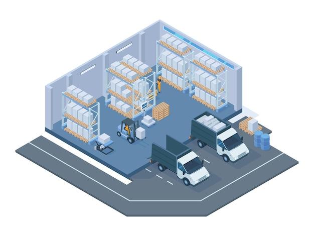 Edifício de armazenamento isométrico, interior moderno do armazém. empilhadeiras de armazenamento, carrinho de paletes, prateleiras e ilustração em vetor caminhão de entrega. interior de edifícios de armazém. armazém de construção