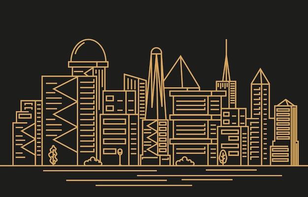 Edifício de arranha-céu da cidade moderna à noite.