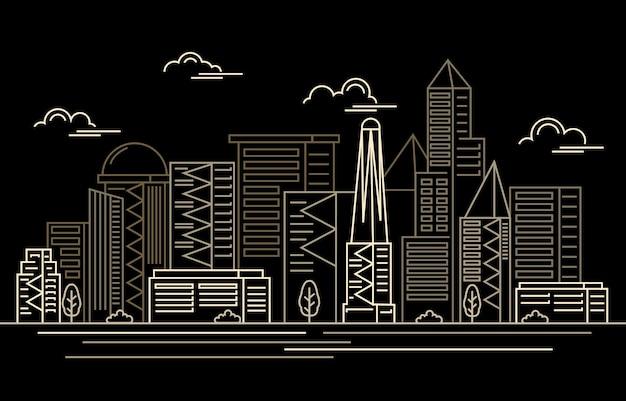 Edifício de arranha-céu da cidade moderna à noite. Vetor Premium