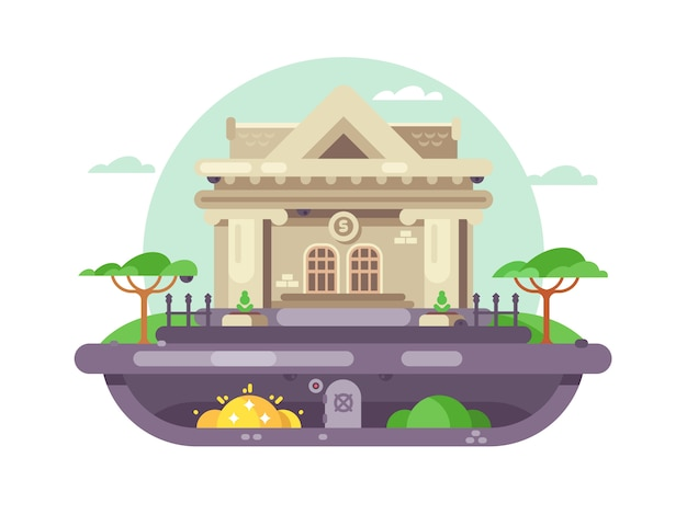 Edifício de banco arquitetônico. instituição financeira com colunas em grande estilo. ilustração