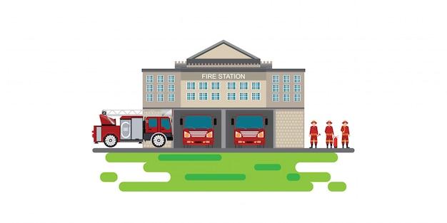 Edifício de bombeiros com veículo de emergência caminhão de bombeiros e ícone de homem de fogo isolado banner