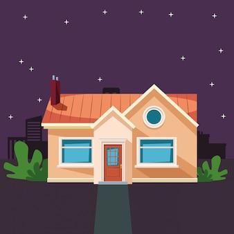 Edifício de casa com desenhos animados de ícone de planta