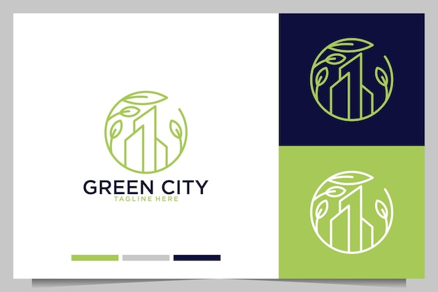 Edifício de cidade verde com logotipo de folha verde