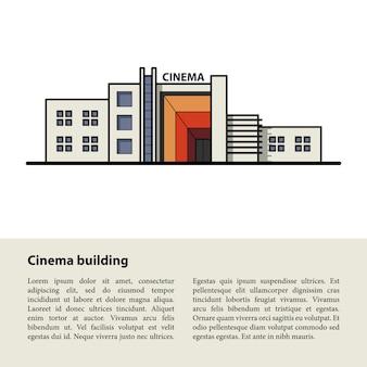 Edifício de cinema. modelo para o seu texto na parte inferior