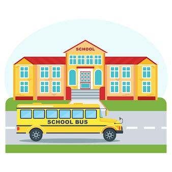 Edifício de colégio claro, bonito, limpo e brilhante para crianças, estudantes. ônibus escolar na estrada em frente à fachada. voltar para o ícone dos desenhos animados de vetor plana de escola. objetos isolados em um fundo branco.