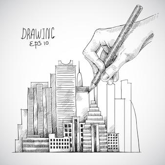 Edifício de desenho a mão