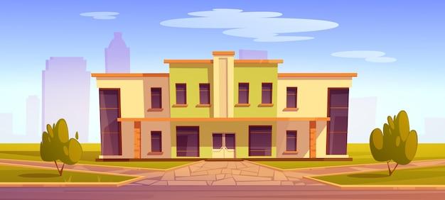 Edifício de escola de desenho animado