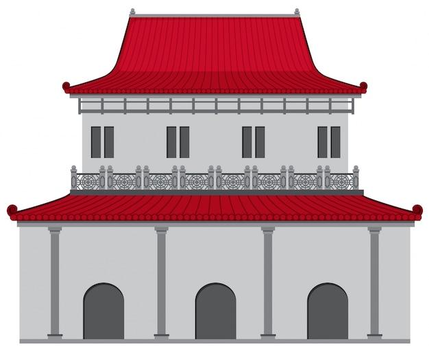 Edifício de estilo chinês com telhado vermelho e parede cinza